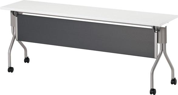 TM1845TA-MG 長方形:幅180×奥行45×高さ70cm ミーティングテーブル 会議テーブル スタック 塗装脚 キャスター付 幕板付