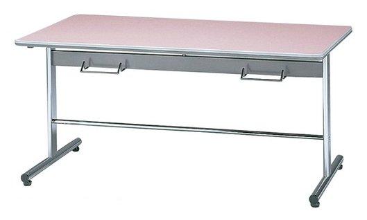 STD-5752H 長方形:幅150×奥行75×高さ70cm ミーティングテーブル ダイニングテーブル T字脚 クロームメッキ ハンガー付