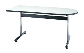 STD-890H3 半楕円形:幅180×奥行90×高さ70cm ミーティングテーブル 会議テーブル T字脚 クロームメッキ ソフトエッジ巻