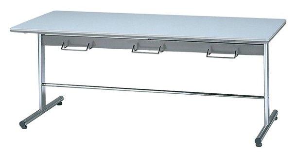 STD-8752H 長方形:幅180×奥行75×高さ70cm ミーティングテーブル ダイニングテーブル T字脚 クロームメッキ ハンガー付