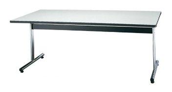 STD-875H 長方形:幅180×奥行75×高さ70cm ミーティングテーブル 会議テーブル T字脚 クロームメッキ ソフトエッジ巻