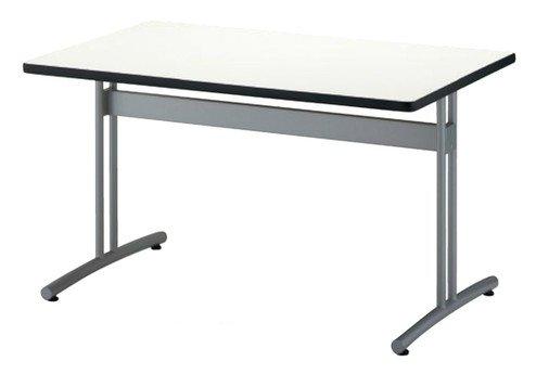 TM1275RT-MZ 長方形:幅120×奥行75×高さ70cm ミーティングテーブル 会議テーブル T字脚 シルバー塗装 ソフトエッジ巻