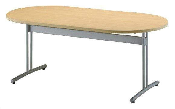 TM1890RTR-MZ 楕円形:幅180×奥行90×高さ70cm ミーティングテーブル 会議テーブル T字脚 シルバー塗装 ソフトエッジ巻