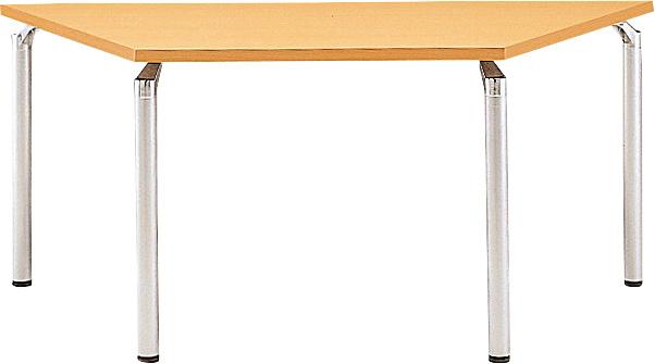 TM445-MZ 台形:幅165×奥行71.5×高さ70cm ミーティングテーブル 会議テーブル 4本脚 シルバー脚