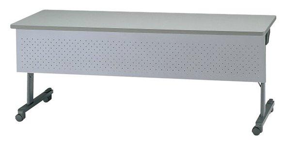 TM311-MG 長方形:幅150×奥行60×高さ70cm ミーティングテーブル 会議テーブル スタック 塗装 キャスター付 幕板付き