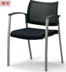 CM570-MY_X1 ミーティングチェア 会議椅子 4本脚 背メッシュ 座布張り 肘付 ブラック色