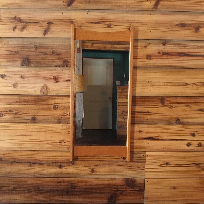 【デンマーク】【中古】【北欧 ビンテージ 家具】【展示店:和田岬】オーク ミラー -oak mirror オーク 鏡 壁掛け 異型 洗面所 玄関 リビング 寝室 子供部屋