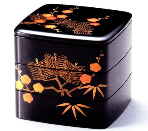 重箱 3段 6.5寸 松竹梅 黒内朱|お正月・おせちに木製漆塗り三段のお重箱(お弁当箱) 漆器