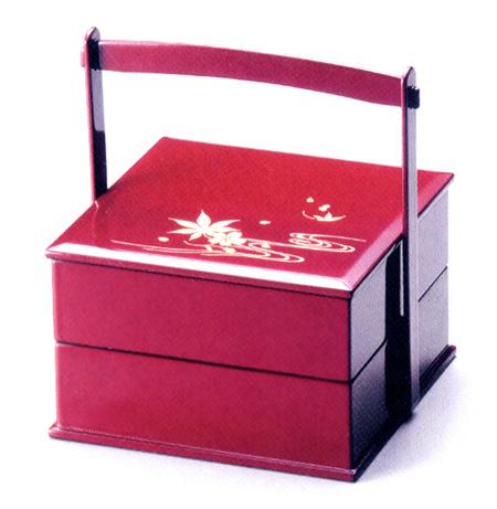 重箱 2段 5.5手提雲錦流水|運動会に木製漆塗りの二段のお重箱(お弁当箱) 漆器