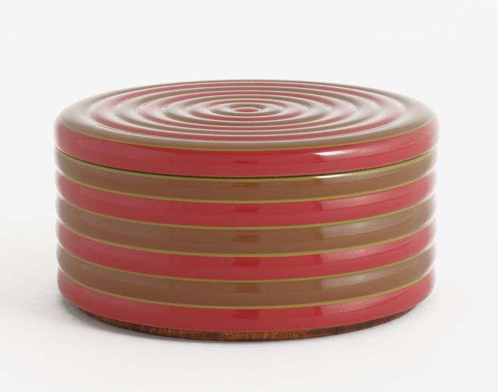 KOMA 一段重 丸い弁当箱 モダンな木製漆塗りのお重箱(お弁当箱) 漆器