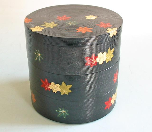 重箱 3段 丸千筋 春秋 お正月・おせちにかわいい木製漆塗りの三段のお重箱(お弁当箱) 漆器