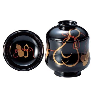 小吸物椀 ひょうたん 黒 5客セット 木製 漆塗り