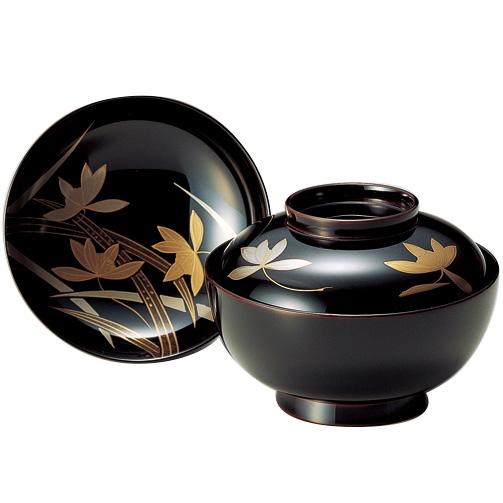 煮物椀 蘭 溜 木製 漆塗り