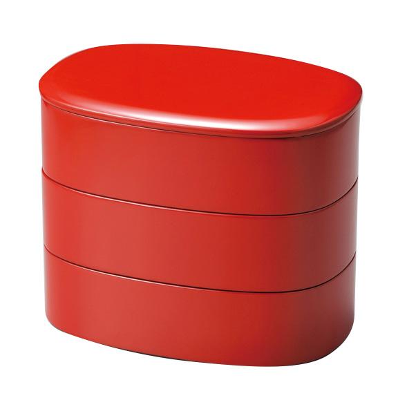 小判重 福来 朱 木製 漆塗り 重箱 3段
