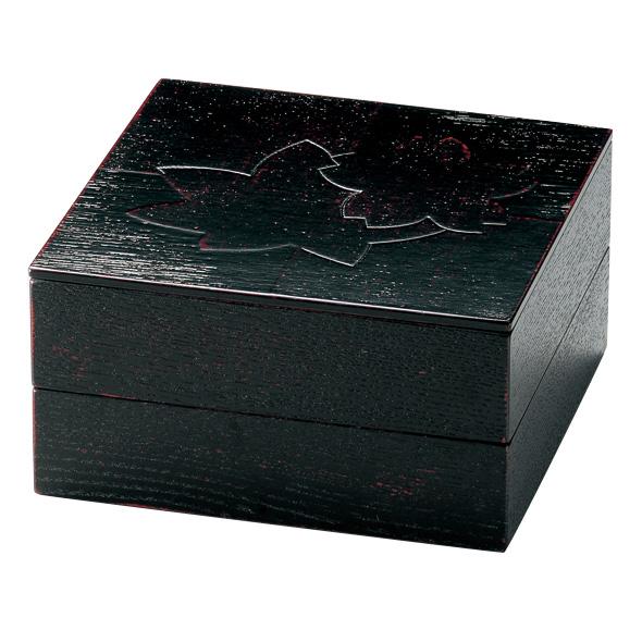 二段オードブル重 色紙春秋布張 曙 7寸 木製 重箱 2段 仕切付き
