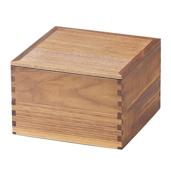 二段重 ウォールナット 内黒 6寸 木製 重箱 2段