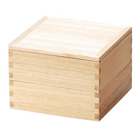 二段重 白木塗 タモ 内朱 5寸 木製 小さい重箱 2段