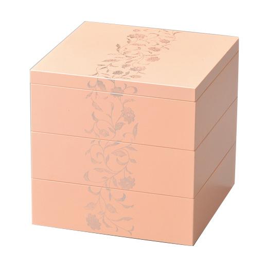 三段重箱 アールデコ ピンク 5.5寸 小さい重箱 3段