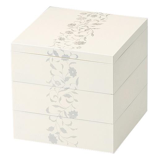 三段重箱 アールデコ ホワイト 5.5寸 小さい重箱 3段