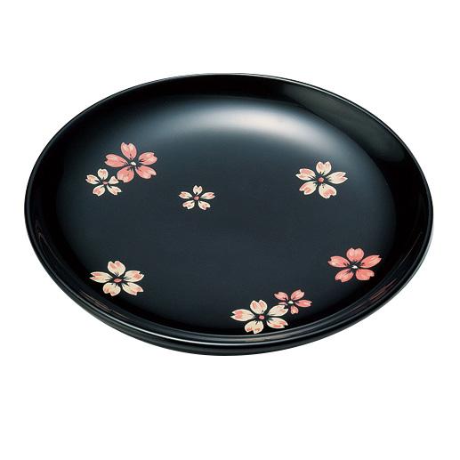 銘々皿 桜ちらし 黒 5枚セット 木製 漆塗り 取り皿・小皿