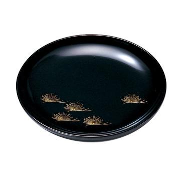 銘々皿 沈金松 黒 5枚セット 木製 漆塗り