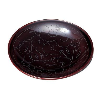 銘々皿 牡丹彫 溜 5枚セット 漆塗り