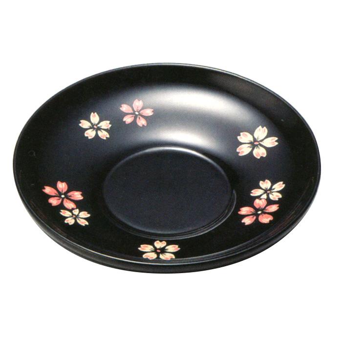 4.0茶托 桜ちらし 黒 5枚セット<京都 漆器の井助>木製漆塗りの茶たく(丸い茶托5客)