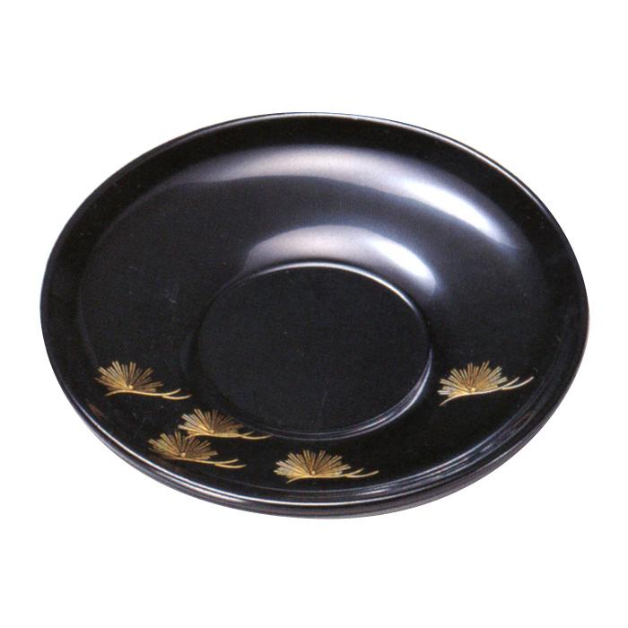 4.0茶托 沈金松 黒 5枚セット<京都 漆器の井助>木製漆塗りの茶たく(丸い茶托5客)