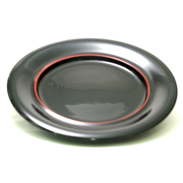 パーティー皿 黒朱線入 |木製漆塗りの大皿/丸皿 和食器 漆器