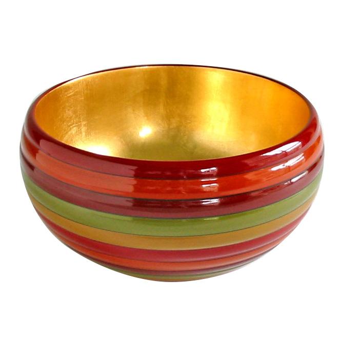 盛鉢 独楽文様 内金箔|木製漆塗りの中鉢(ボウル) 結婚祝いや長寿のお祝いに。和食器 漆器