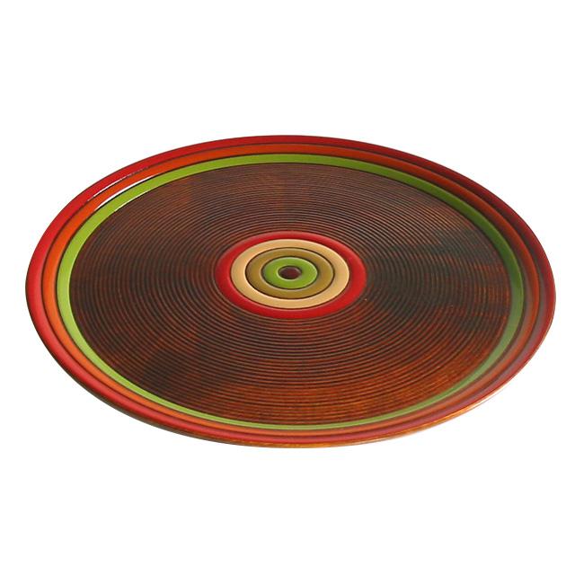 お盆・トレー 丸盆 独楽文様 尺【送料無料】木製漆塗りの丸いトレイ 和食器 漆器