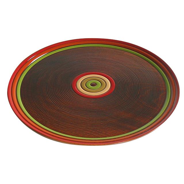 お盆 丸盆 独楽文様 尺一|木製漆塗りのトレイ 和食器 漆器