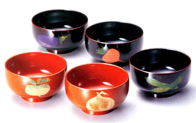 汁椀 野菜絵変わり|溜・朱(日本製)漆塗りの味噌汁椀セット 和食器 漆器
