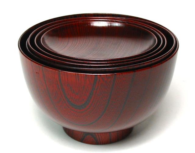 応量椀 5つ組 欅|(日本製)木製漆塗りお椀セット (応量噐・入子の汁椀・木のお椀) 結婚祝いに 和食器ギフト 漆器