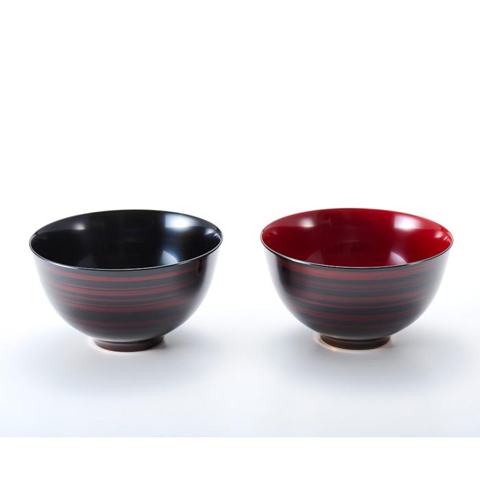 夫婦椀 ペア大椀 白檀 彩波(日本製)漆塗りのペアのお椀  2客セットなのでご結婚のお祝いに 和食器 漆器