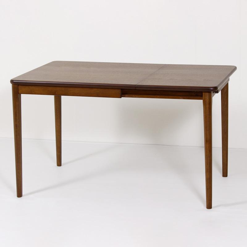 LT75BT 伸長式ダイニングテーブル 120cm×75cm 片バタ 木製 ウォールナット突板 伸長 4本脚 コンパクト おしゃれ レトロ 組み立て品 送料無料
