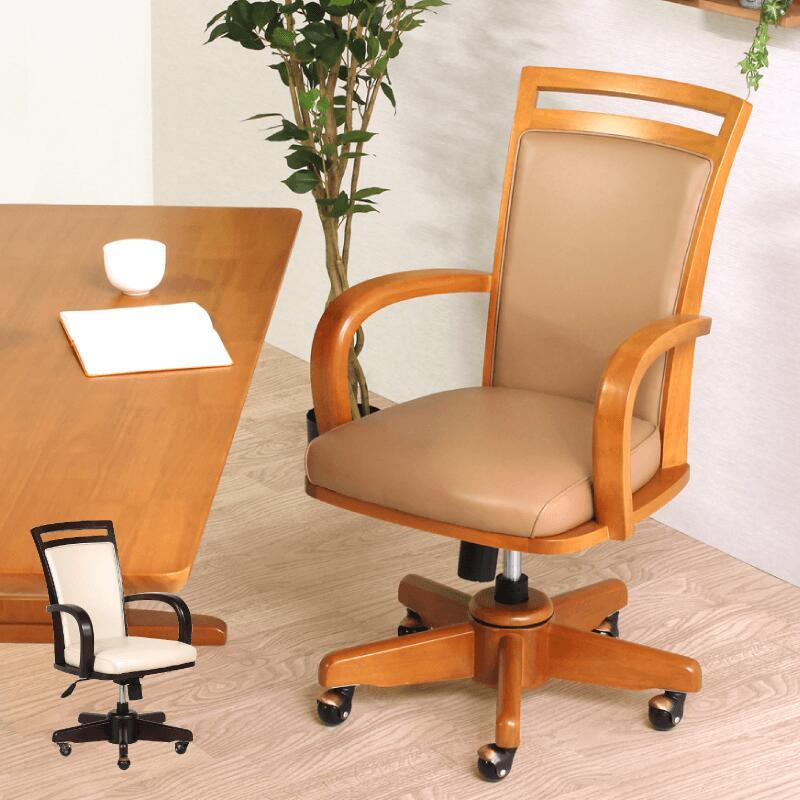 回転椅子 昇降チェア 肘付き椅子 作業椅子 木製 ラバーウッド PVC カジュアル シンプル 1脚入り ダイニングチェア 椅子 座面回転 昇降 ロッキング キャスター 肘付き 合皮 ライトブラウン ダークブラウン 組立て 送料無料 Spark Lifting Chair