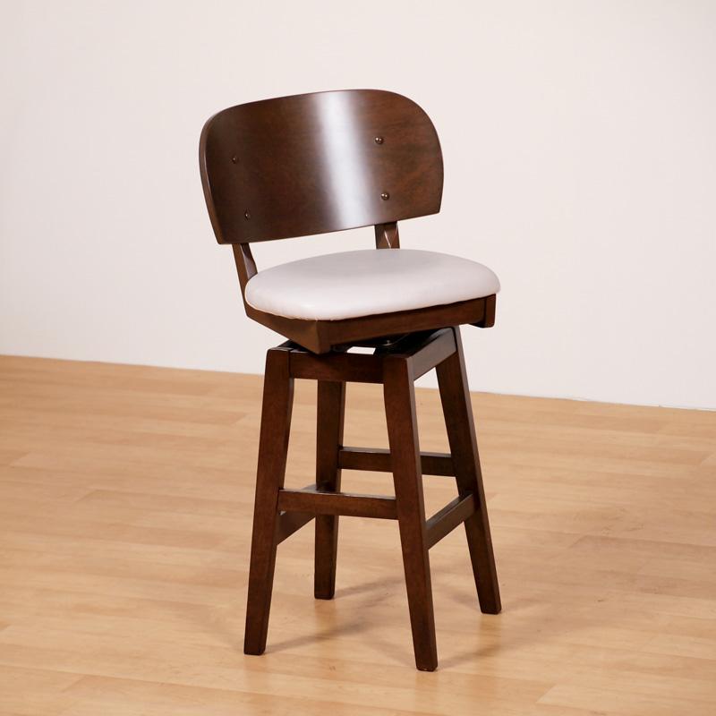 カウンターチェア ハイチェア 1脚 木製 肘無 背もたれ 座面回転 コンパクト おしゃれ 組み立て品 送料無料 Server Counter Chair