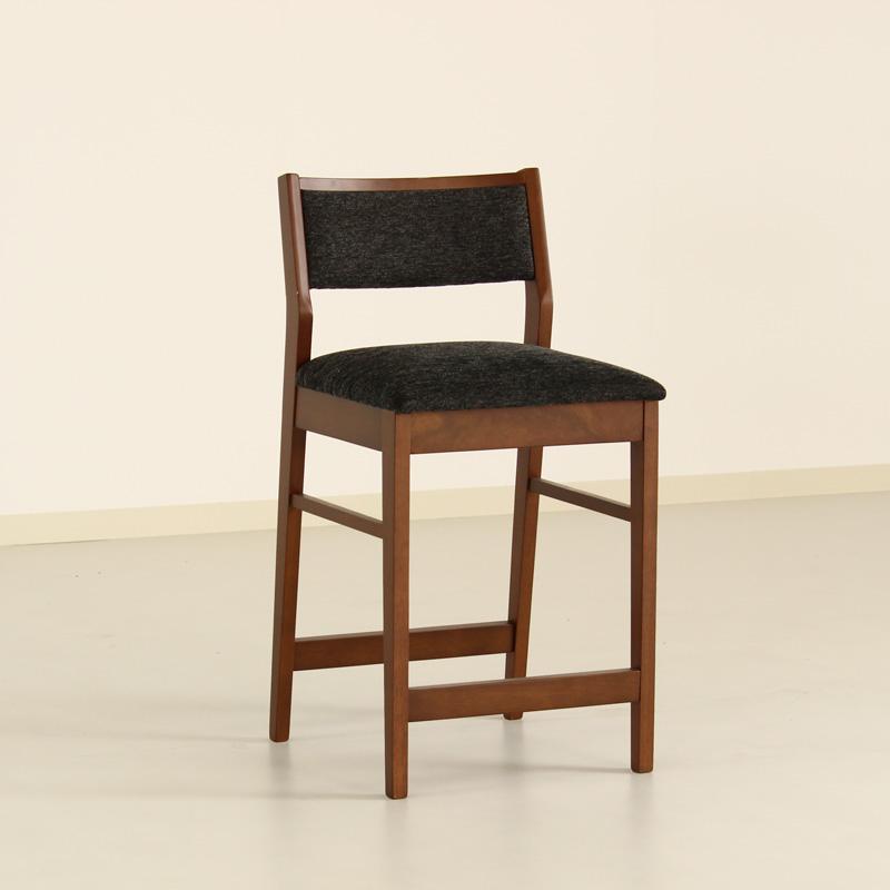 カウンターチェア ハイチェア 1脚 木製 肘無 座面高60cm 背もたれ コンパクト モダン レトロ ブラウン ファブリック おしゃれ 完成品 送料無料 Weather Counter Chair