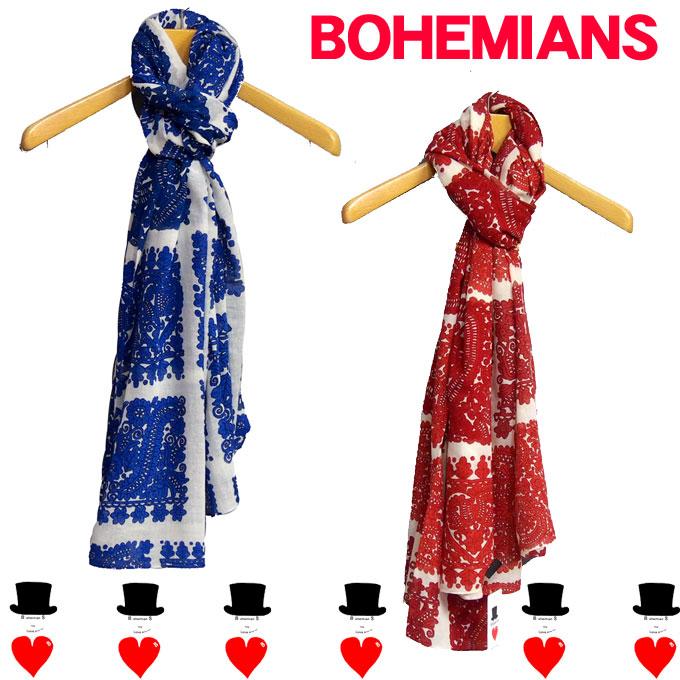 Bohemians (ボヘミアンズ) プリントストール HANNAHKHADI(カディコットン素材)に日本でボヘミアンズデザインをプリントしています 大きい長方形で使いやすい形です送料無料
