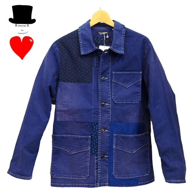 Bohemians (ボヘミアンズ)ワークジャケット 日本製リメイク ワイルドパッチ ストレッチジャケットボヘミアンズらしいこだわりのリメイクです送料無料