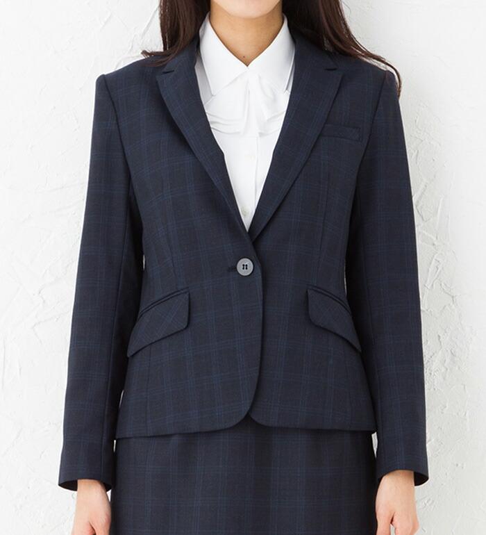 送料無料 エレガントな女性らしさを演出 チェック柄おしゃれジャケット 事務服 オフィス制服