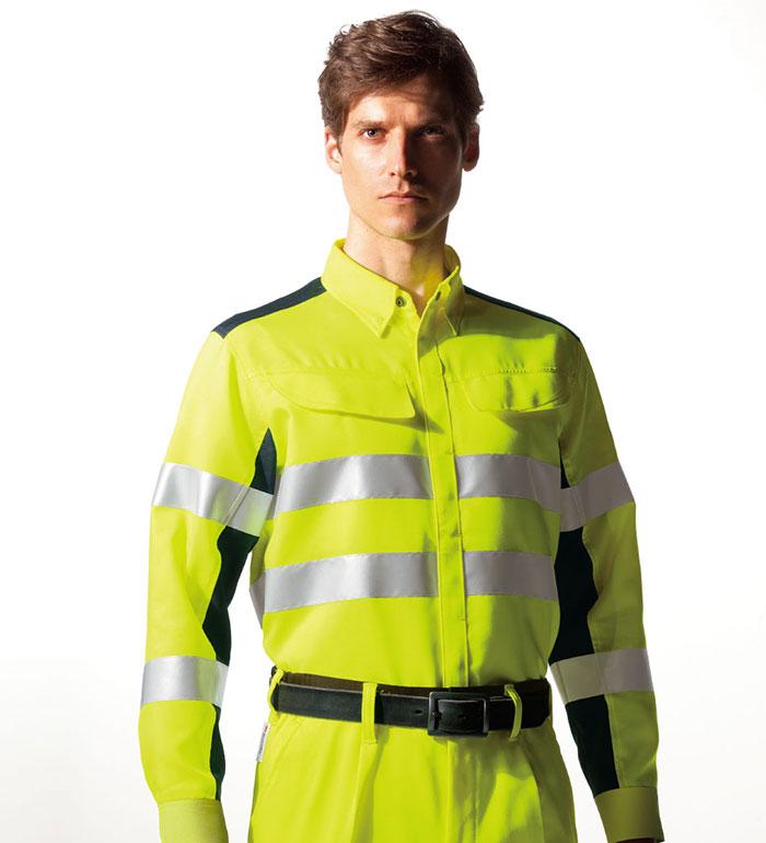 最高レベル反射材付き高視認性長袖シャツ ナイトナイト NIGHT KNIGHT 作業服 作業着 タカヤ商事  3L 4L 5L対応 大きいサイズ対応