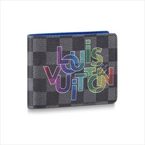 【新品】LOUIS VUITTON ルイヴィトンポルトフォイユ・ミュルティプル ダミエ・グラフィット / ブルークレール N60302 メンズ財布【Luxury Brand Selection】
