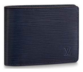 【ルイヴィトン ポルトフォイユ・ミュルティプル エピ/ ブルーマリーヌ 】 LOUIS VUITTON M61825 メンズ二つ折り財布【Luxury Brand Selection】