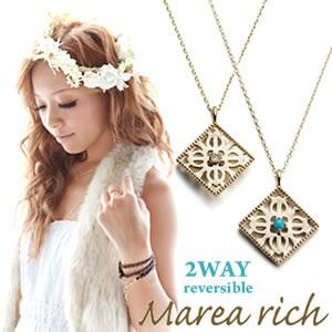 Marea rich マレア リッチHawaiian series K10 ハワイアンモチーフ スクエアネックレス 2WAY リバーシブル ゴールド×ダイヤモンド/ターコイズ 11KJ-07 【Luxury Brand Selection】