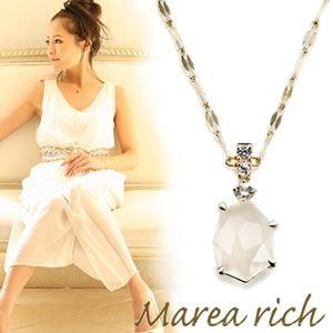 Marea rich マレア リッチ 半貴シリーズ K10 ネックレス ペンダント ゴールド×ホワイトムーン/ホワイトサファイア 12KJ-18 【Luxury Brand Selection】
