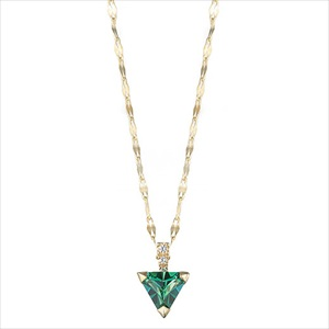 Marea rich マレア リッチ13KJ-10B K10×ストーン トライアングル ネックレス ペンダント Natural Triangle Green Necklace 【Luxury Brand Selection】