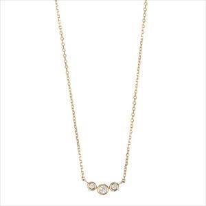Marea rich マレア リッチ14KJ-16 K10×ダイアモンド 3粒ダイア ネックレス ペンダント Precious Standard Necklace 【Luxury Brand Selection】