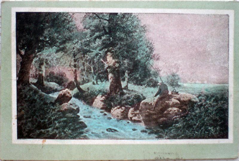1921年発行のペスカトーラお部屋のインテリアにイタリアのアンティークショップで見つけた絵ハガキと切手と雑貨
